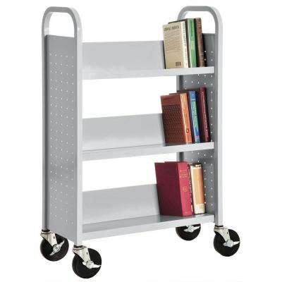 32 in. W x 14 in. D x 46 in. H Single Sided 3-Sloped Shelf Booktruck in Dove Gray