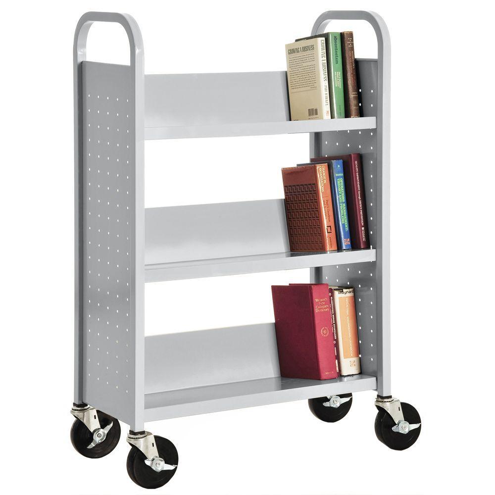 32 in. W x 14 in. D x 46 in. H Single Sided 3-Sloped Shelf Booktruck in Dove Gray