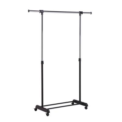 Chrome/Black Expandable Steel Clothes Rack with Wheels (53 in. W x 66 in. H)