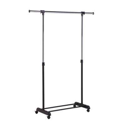 52.7 in. x 65.75 in. Expandable Steel Rolling Garment Rack in Chrome/Black