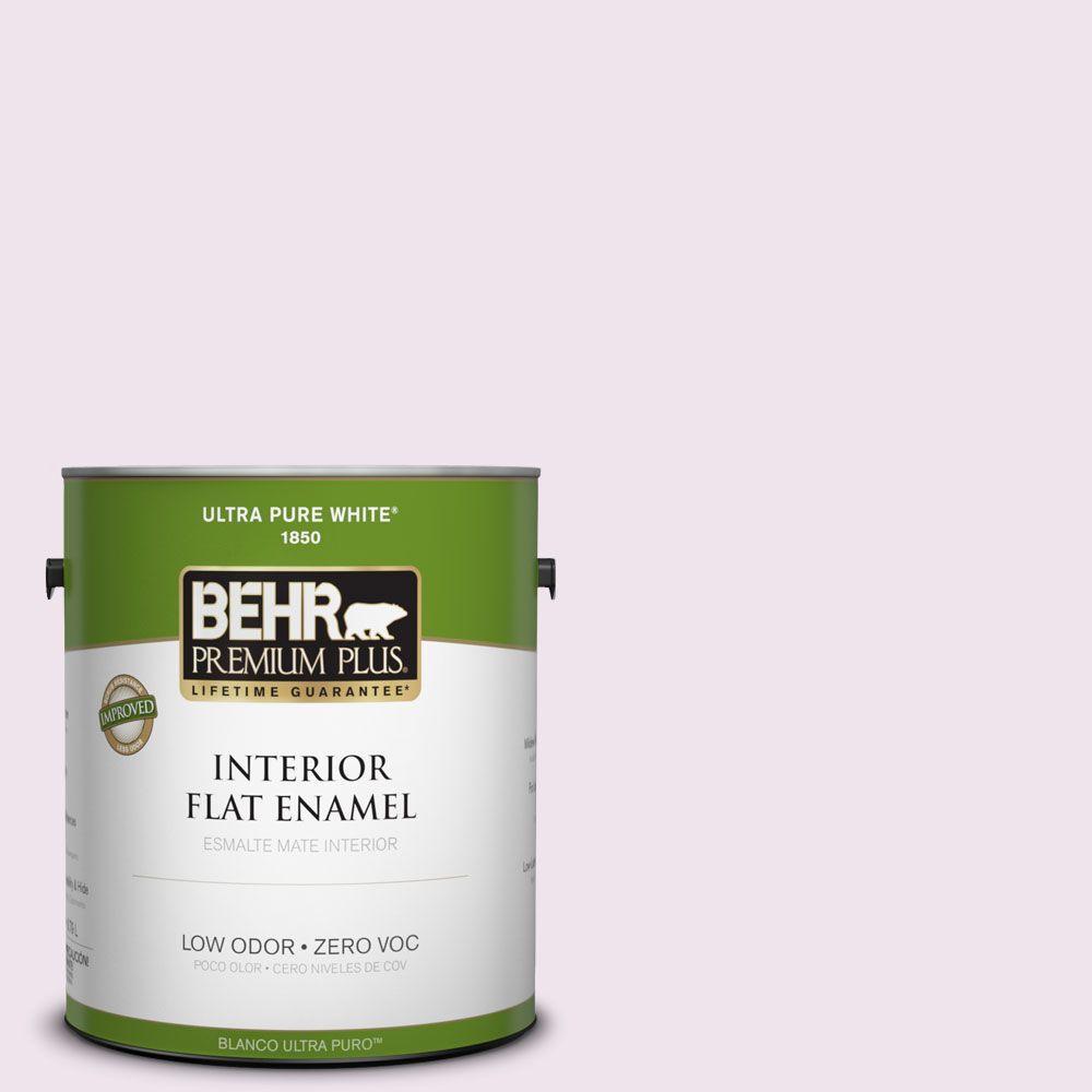 BEHR Premium Plus 1-gal. #670C-1 November Pink Zero VOC Flat Enamel Interior Paint-DISCONTINUED