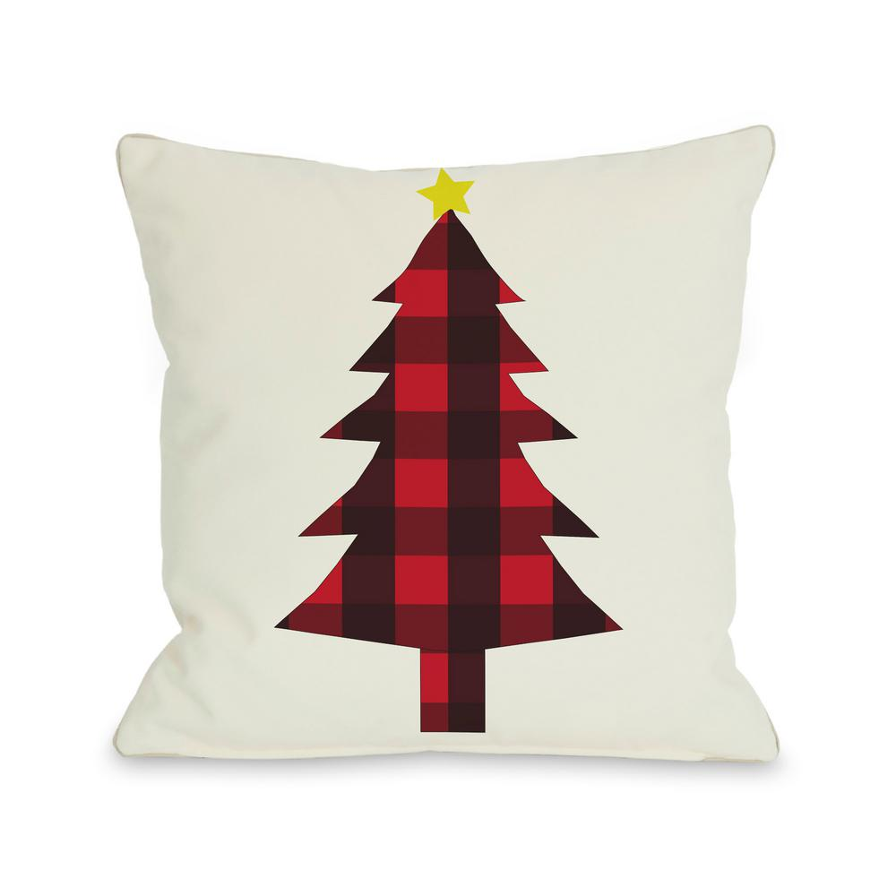 plaid christmas tree reversible 16 in x 16 in decorative pillow - Plaid Christmas Tree