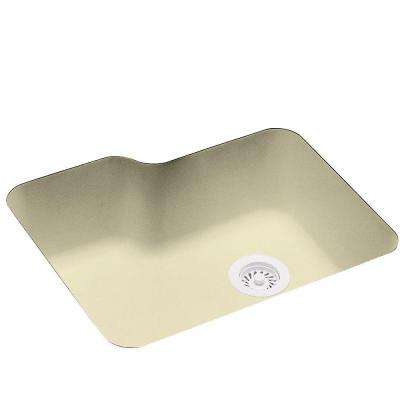 Undermount Solid Surface 25 in. 0-Hole Single Bowl Kitchen Sink in Bone