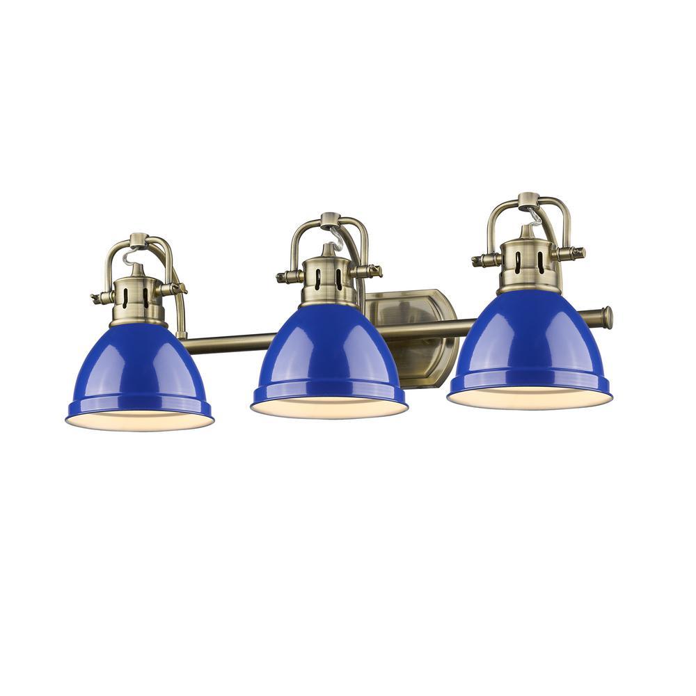 Duncan AB 3-Light Aged Brass Bath Light with Blue Shades