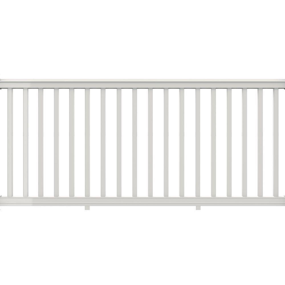 Veranda 8 ft. x 42 in. White Vinyl Premier Rail Kit with Square Balusters