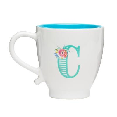 Monogram C 20 oz. White-Teal Ceramic Coffee Mug
