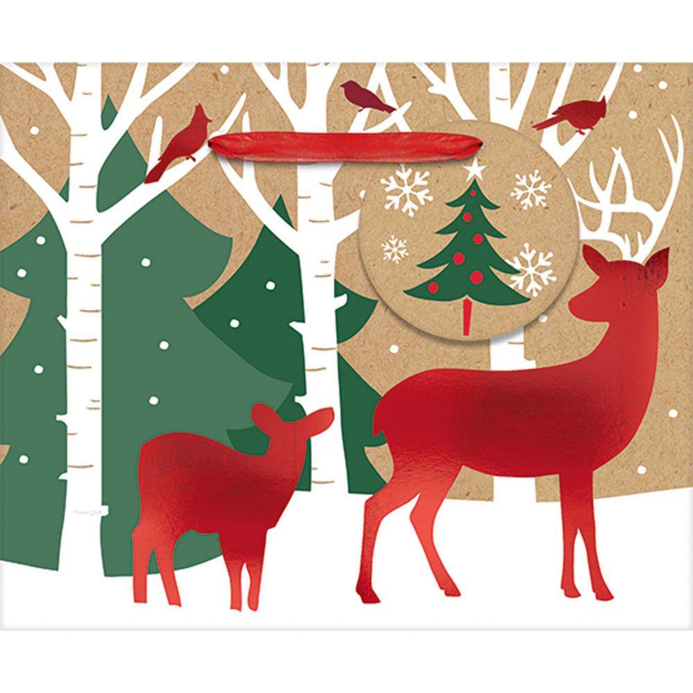 4.5 in. x 5.5 in. x 2.625 in. Reindeer Crossing Bags (24-Pack)