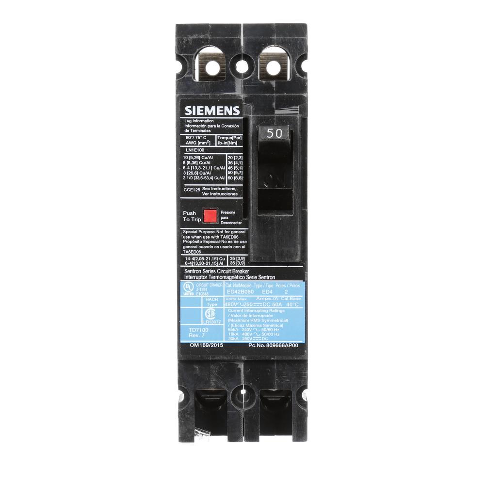 50 Amp 2-Pole Type ED 18 kA Circuit Breaker