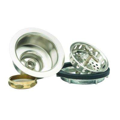 3-1/2 in. Wing Nut Locking Style Basket Strainer with Nut and Washer in Satin Nickel
