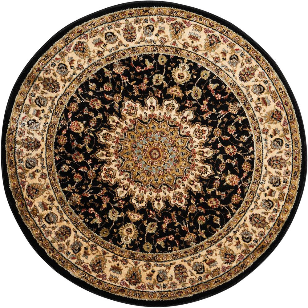 Delano Black 8 ft. Round Area Rug