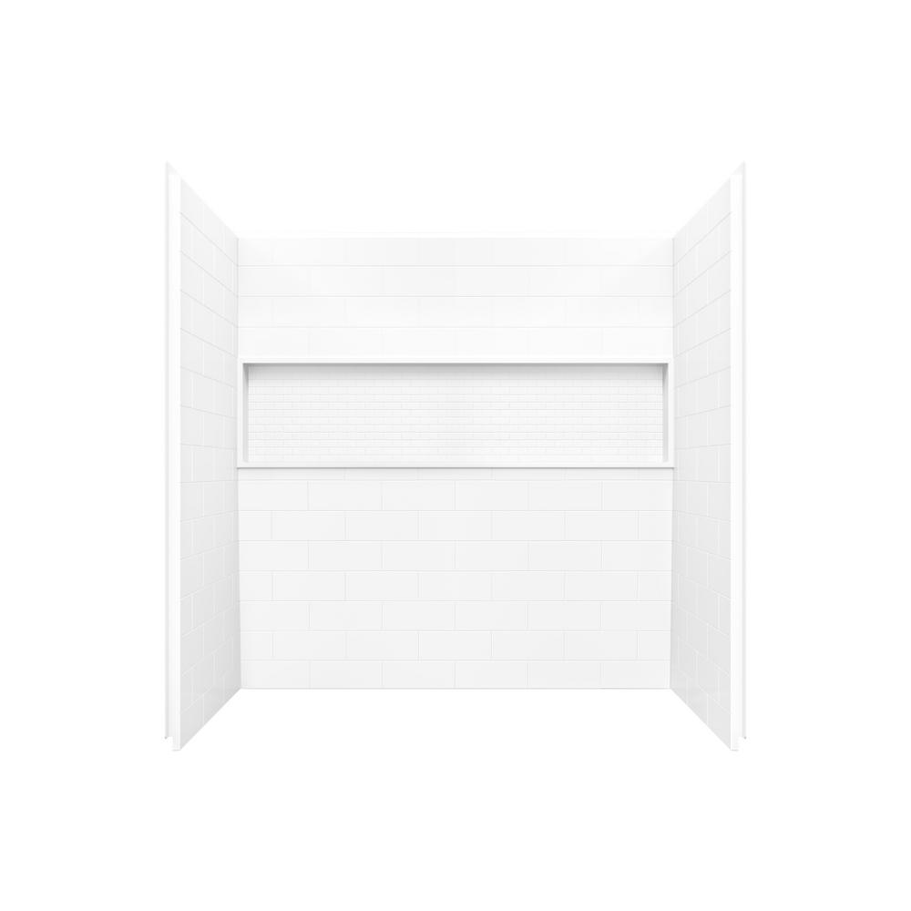 Nextile 30 in. x 60 in. x 60 in. 4-Piece Direct-to-Stud Alcove Tub Surround in White