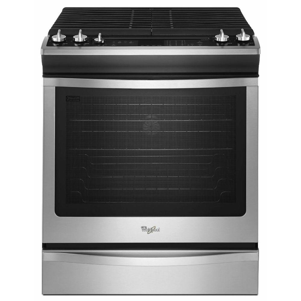 Whirlpool 5.8 cu. ft. Slide-In Gas Range with Self-Cleaning Convection Oven in Stainless Steel