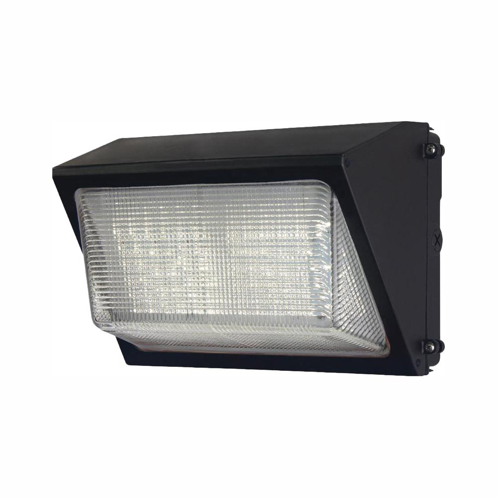 detailed look 22816 40877 Commercial Electric High-Output Bronze Outdoor Integrated LED Wall Pack  Light with 6800 Lumen Dusk-to-Dawn and DLC Rating