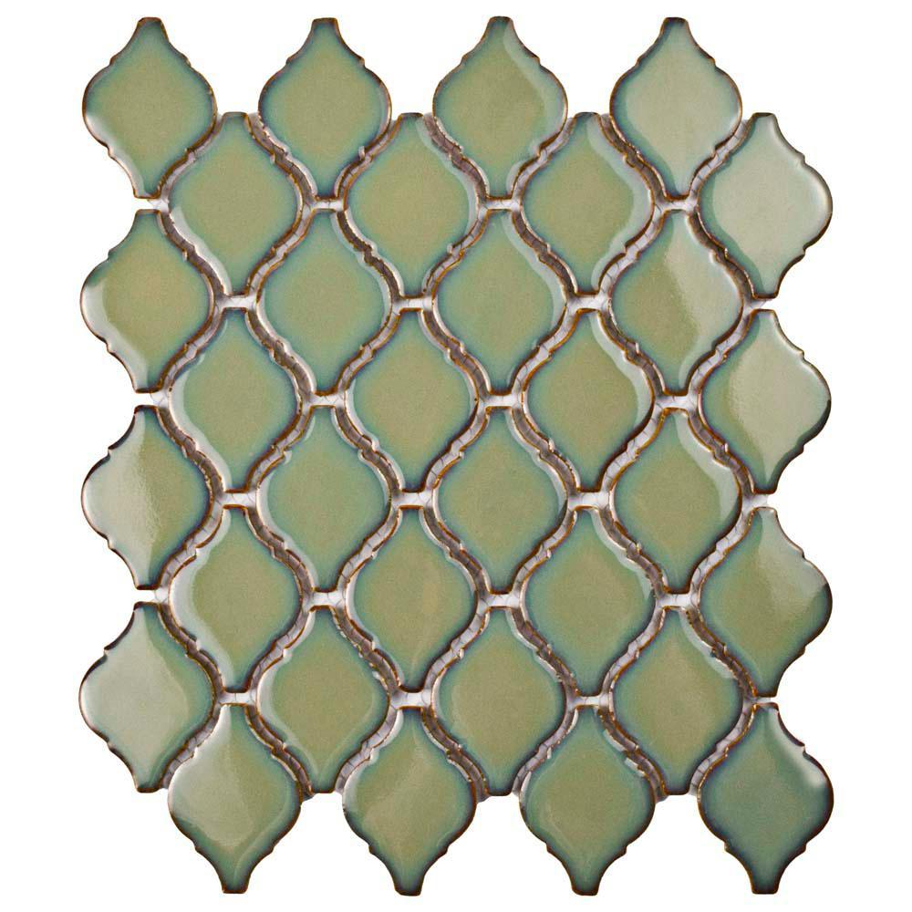 Merola Tile Arabesque Thalia 9-7/8 in. x 11-1/8 in. x 6 mm Porcelain Mosaic Tile