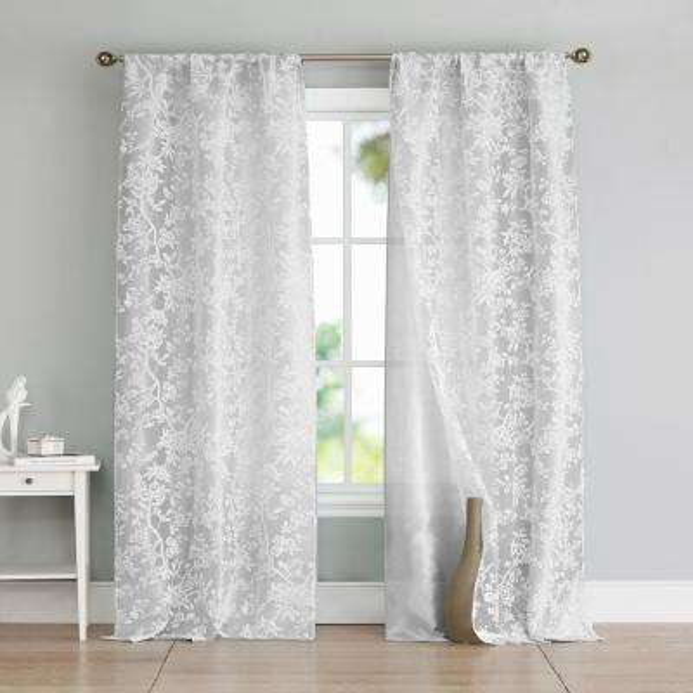 Heidilee 37 in. W x 96 in. L Polyester Window Panel in Silver