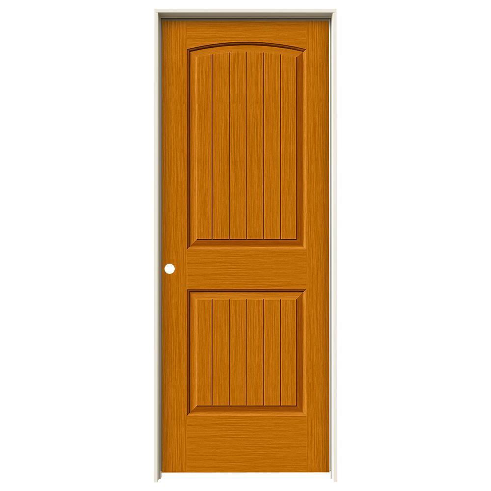 30 in. x 80 in. Santa Fe Saffron Stain Right-Hand Solid Core Molded Composite MDF Single Prehung Interior Door