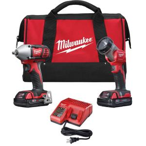 Milwaukee M18 18-Volt Lithium-Ion Cordless Compact Impact Wrench/Light Combo Kit (2-Tool) w/(2) 1.5Ah... by Milwaukee