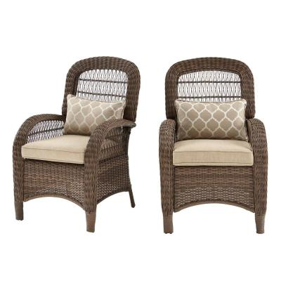 Beacon Park Brown Wicker Outdoor Patio Captain Dining Chair with Standard Toffee Trellis Tan Cushions