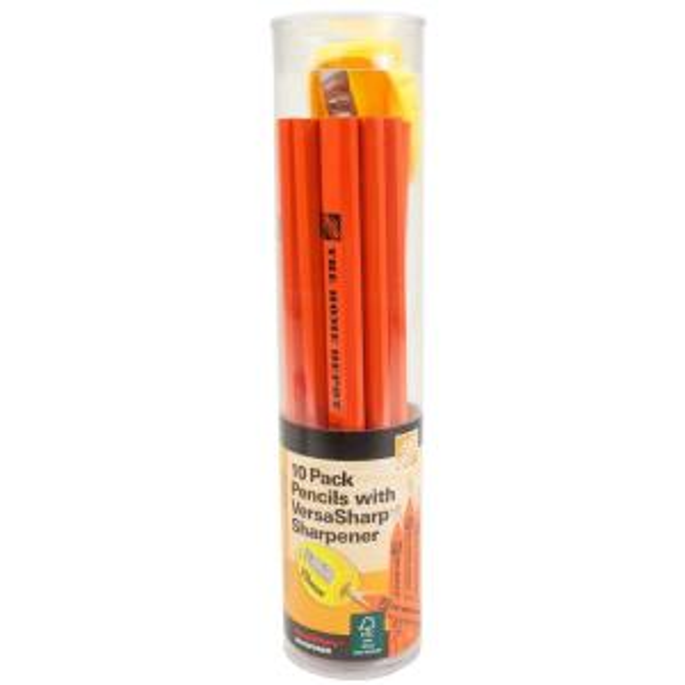 Carpenter Pencils (10-Pack) with Sharpener