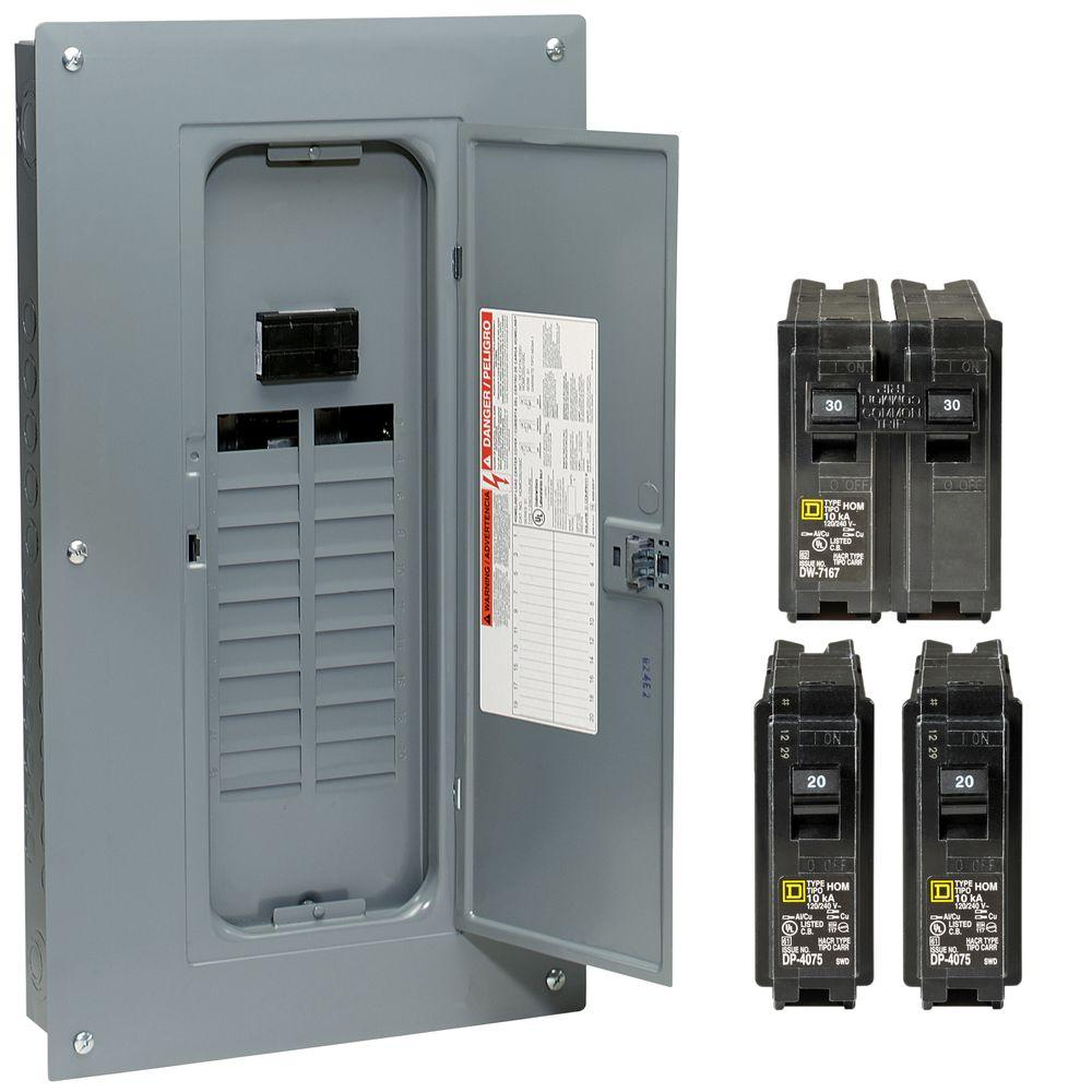 Square D Homeline 100 Amp 20-Space 40-Circuit Indoor Main Breaker ...