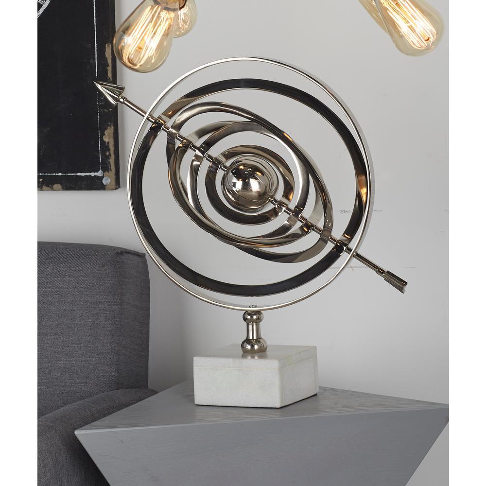 Litton Lane Armillary Sphere Aluminum and Ceramic Sculpture