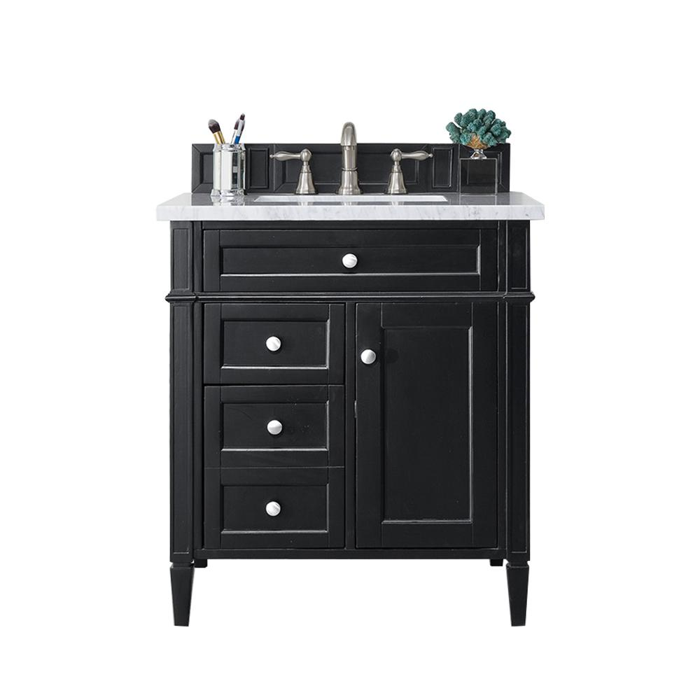 James Martin Vanities Brittany 30 In W Single Bath Vanity In Black Onyx With Soild Surface Vanity Top In Arctic Fall With White Basin 650v30bko3af The Home Depot