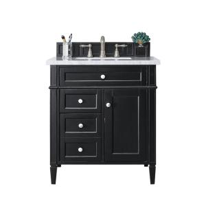 Brittany 30 in. W Single Bath Vanity in Black Onyx with Soild Surface Vanity Top in Arctic Fall with White Basin
