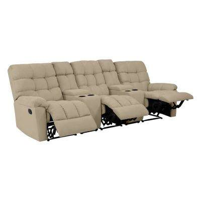 3-Seat Tufted Recliner Sofa with 2-Storage Consoles and USB Ports in Barley Tan Plush Low-Pile Velvet