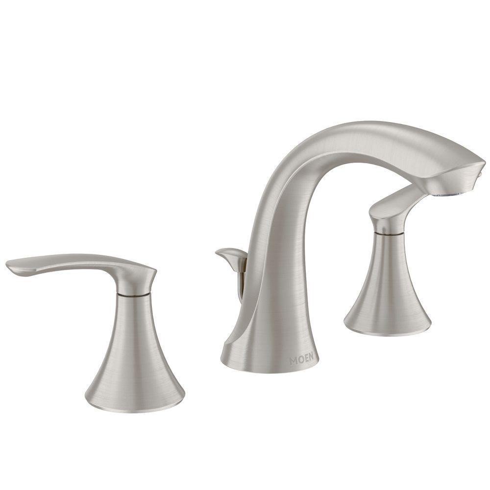 MOEN Darcy 8 in. Widespread 2-Handle High-Arc Bathroom Faucet in Spot Resist Brushed Nickel