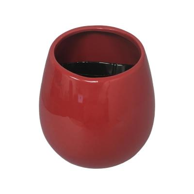 Round 3 1/2 in. x 4 in. Red Ceramic Wall Planter