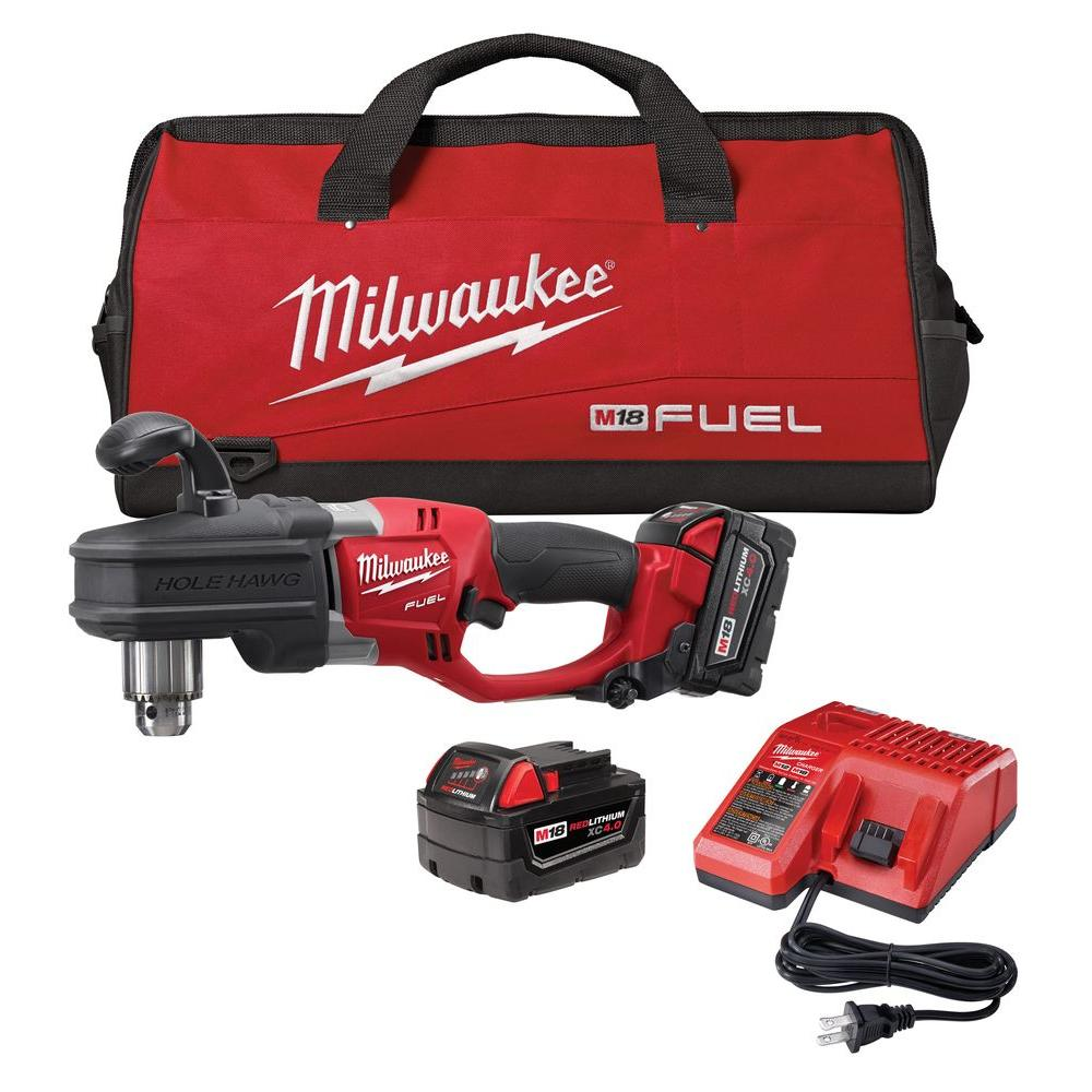 Milwaukee M18 Fuel 18-Volt Cordless Lithium-Ion Brushless Hole Hawg 1/2 in. Right Angle Drill Kit