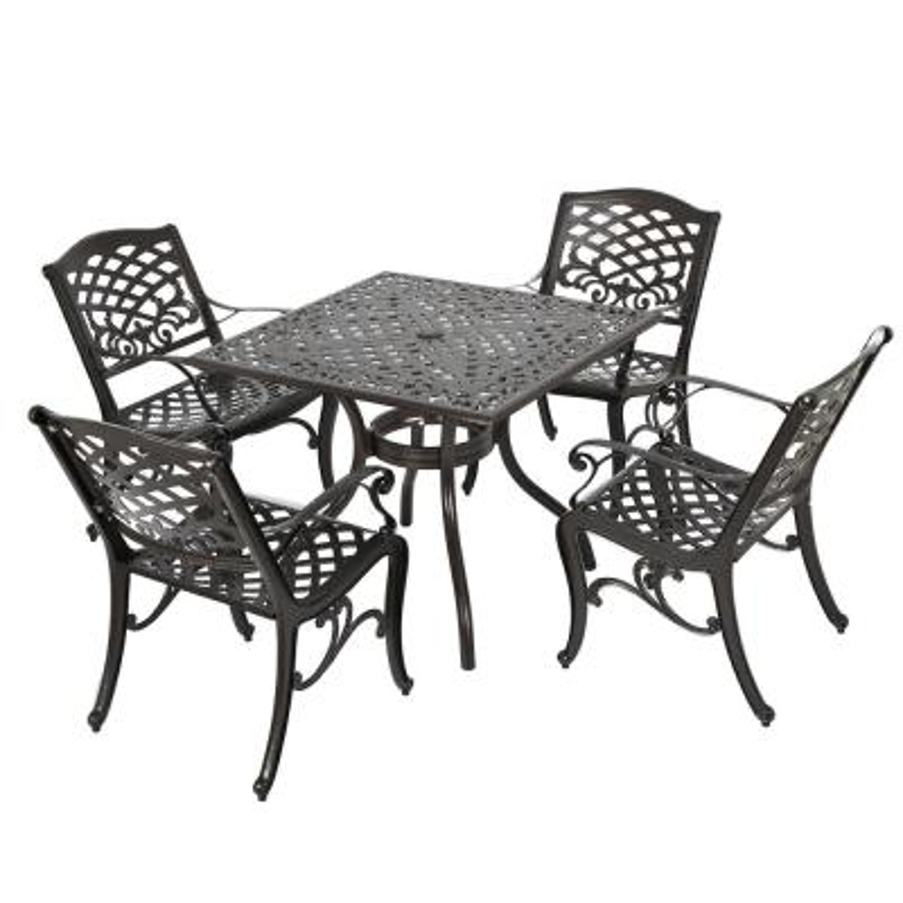 Sarasota Bronze 5-Piece Aluminum Square Outdoor Dining Set