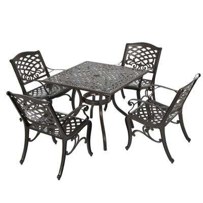 Sarasota Bronze 5-Piece Aluminum Square Outdoor Dining Set