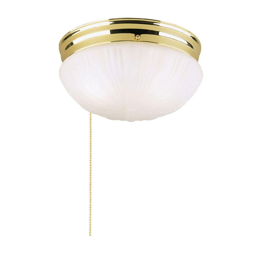 Westinghouse 2 light polished brass interior ceiling flushmount with westinghouse 2 light polished brass interior ceiling flushmount with pull chain and frosted fluted glass arubaitofo Images