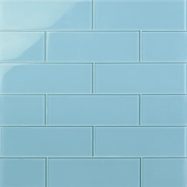 Contempo 4 in. x 12 in. x 8 mm Turquoise Polished Glass Floor and Wall Tile (15 pieces 5 sq.ft/Box)