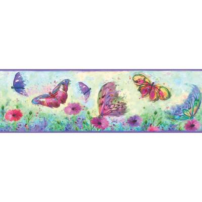 Ava Purple Butterfly Swoosh Purple Wallpaper Border