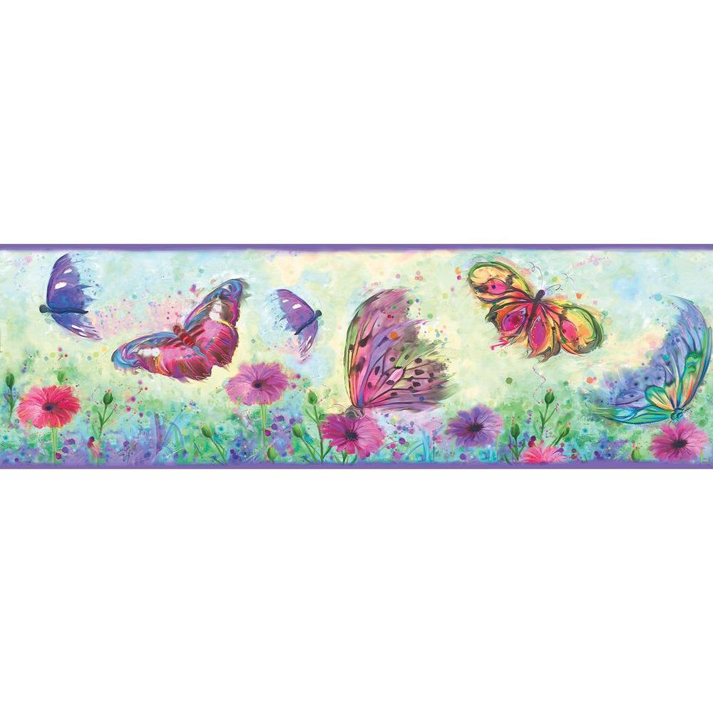 Chesapeake Ava Purple Butterfly Swoosh Wallpaper Border Sample