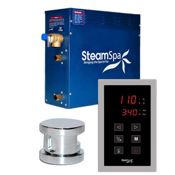 SteamSpa Oasis 7.5kW Touch Pad Steam Bath Generator Package in Chrome