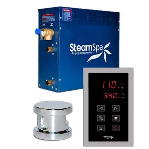 SteamSpa Oasis 4.5kW Touch Pad Steam Bath Generator Package in Chrome by SteamSpa