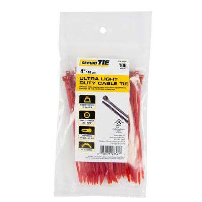 4 in. Ultra Light Duty Cable Tie, 18 lb. Tensile, Red, 100-Pack (Case of 10)