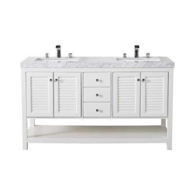 Luthor 60 in. Bath Vanity in White with White Marble Vanity Top in White with White Basin