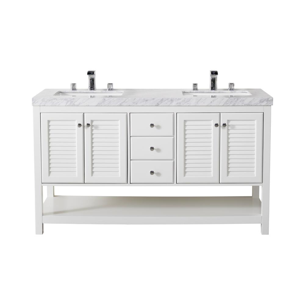 Luthor 60 In Bath Vanity White With Marble Top Basin