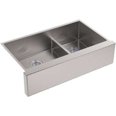 Strive Farmhouse Apron-Front Stainless Steel 36 in. Double Basin Kitchen Sink Kit