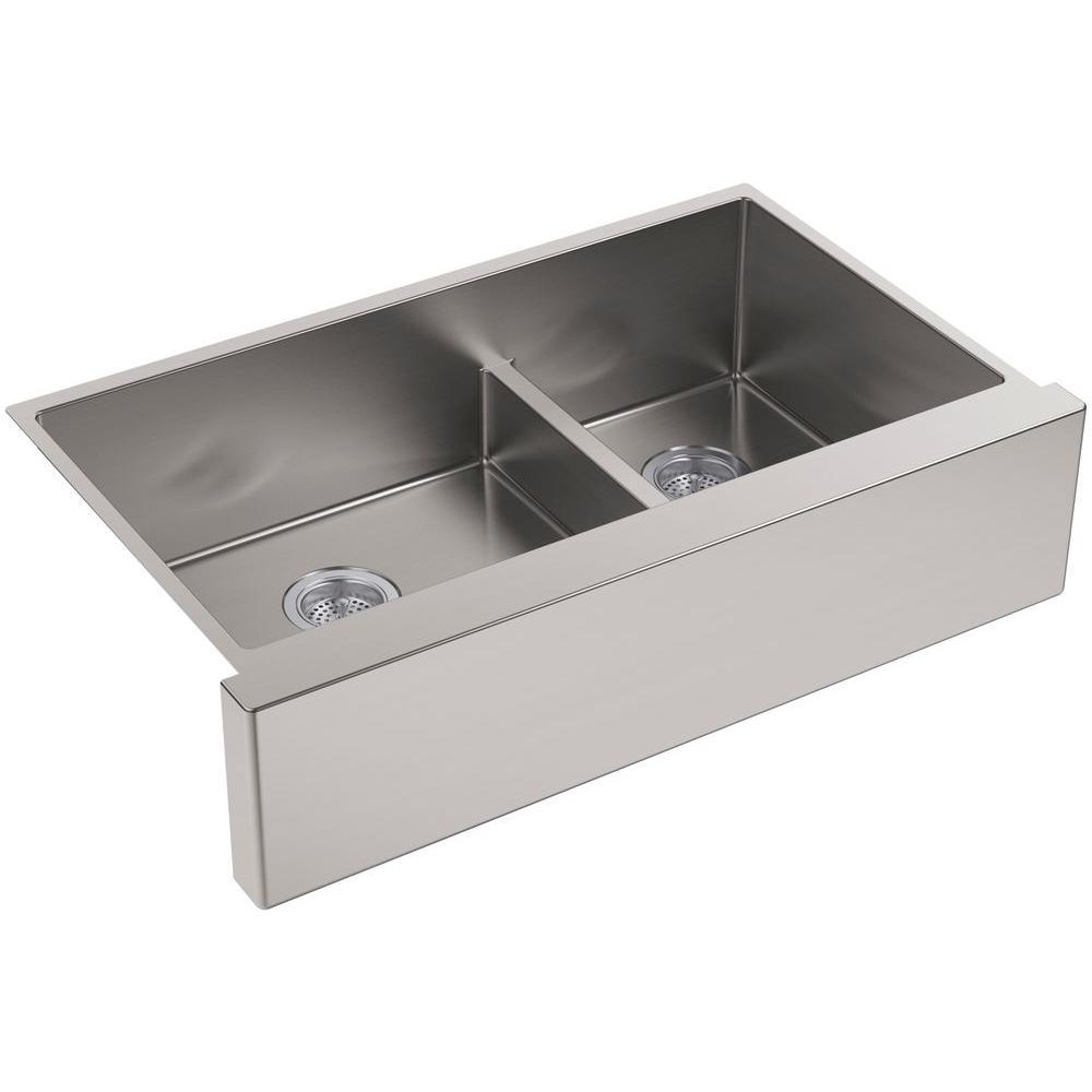 Strive Undermount Farmhouse Apron-Front Stainless Steel 36 in. Double Basin Kitchen Sink Kit