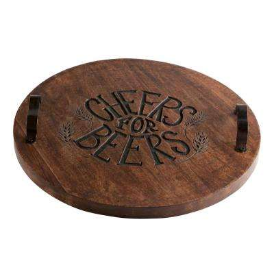 Cheers For Beers 16-1/2 in. Antique Finish Serving Board