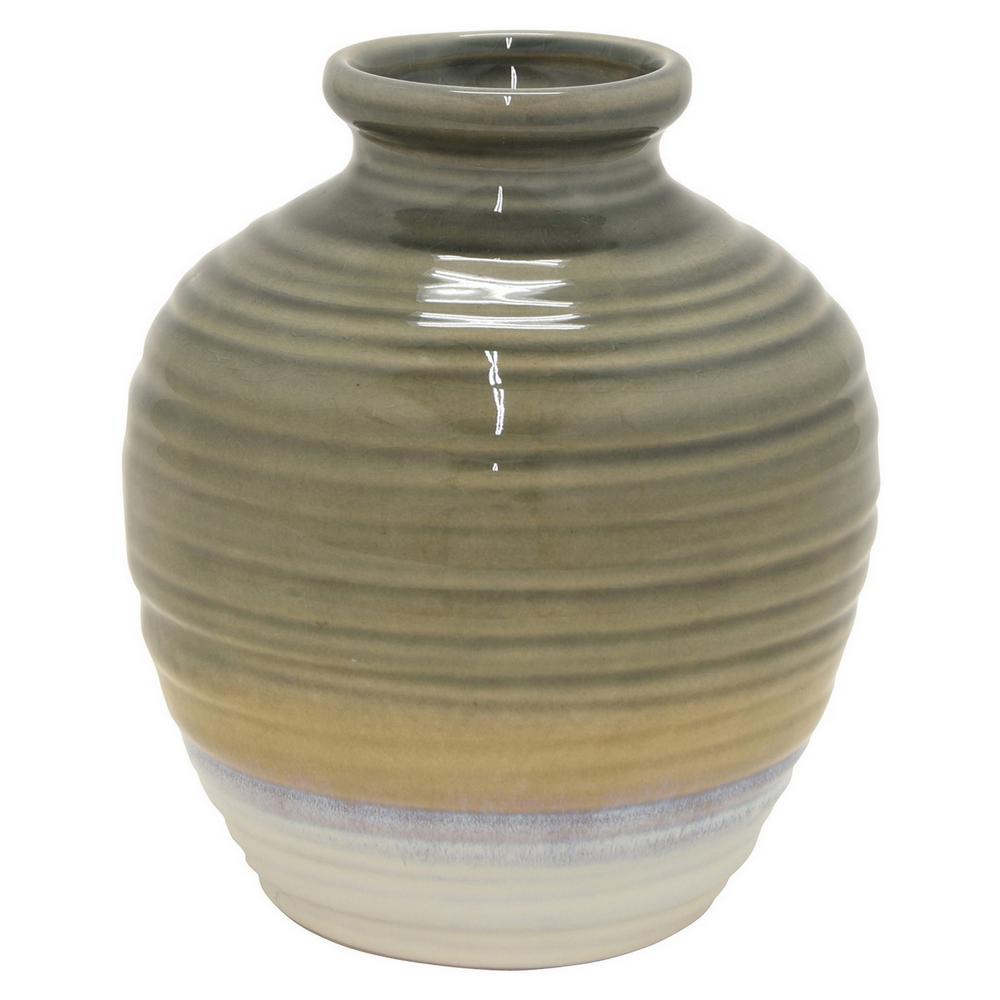 10 in. Gray Ceramic Decorative Vase
