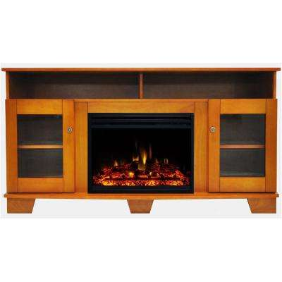 Savona 59 in. Electric Fireplace Heater TV Stand in Teak with Enhanced Log Display and Remote
