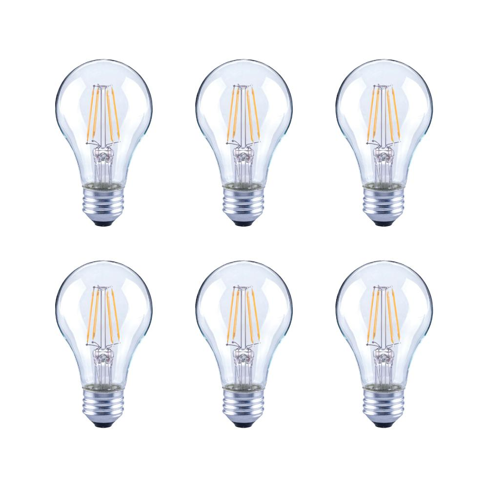 40-Watt Equivalent A19 Clear Glass Vintage Decorative Edison Filament Dimmable LED Light Bulb Daylight (6-Pack)