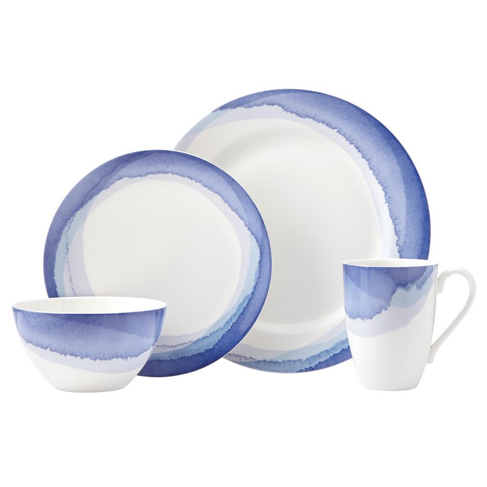 Indigo Watercolor Stripe 4-Piece Dinnerware Set