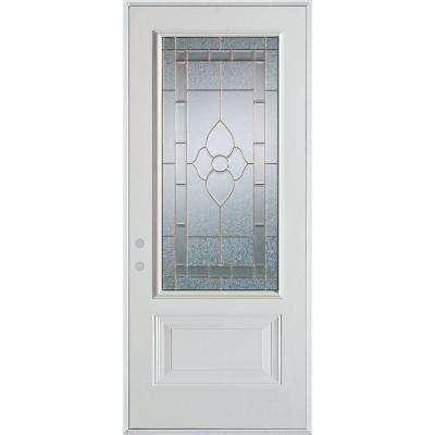 36 in. x 80 in. Traditional Zinc 3/4 Lite 1-Panel Prefinished White Right-Hand Inswing Steel Prehung Front Door